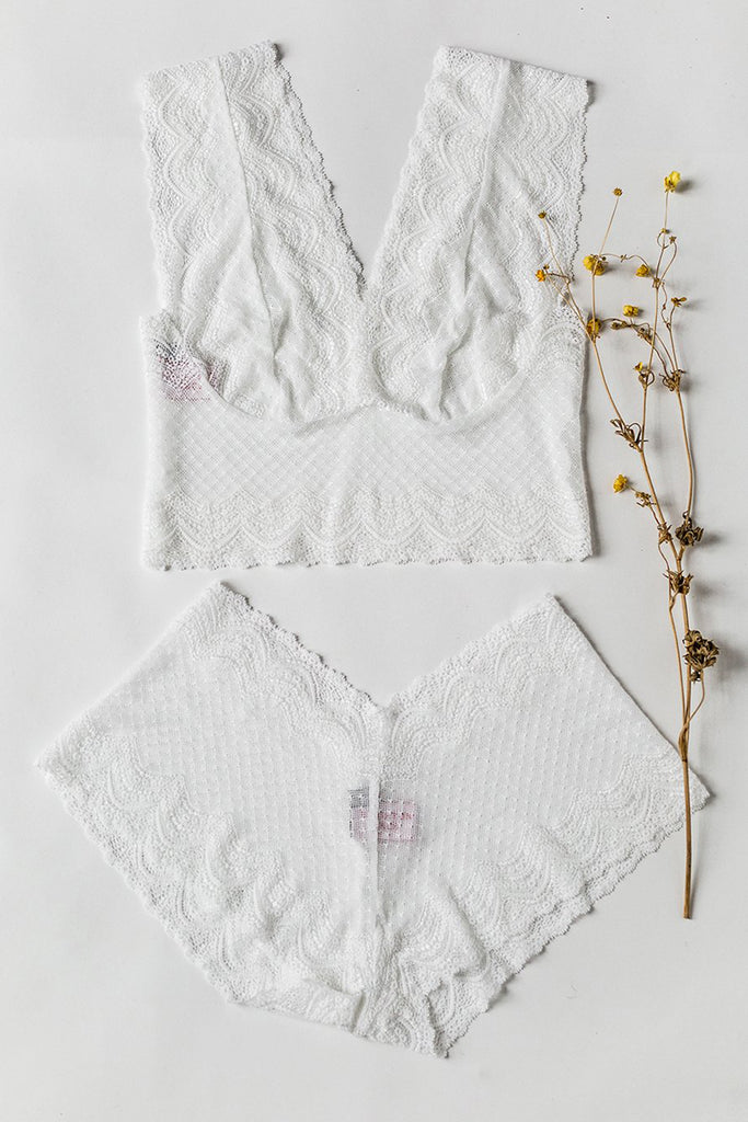 White Belle Lace Racerback Set