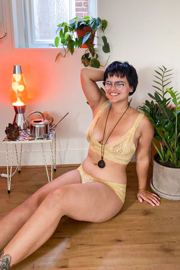 Golden Ochre Yellow Lace Longline Lingerie Set