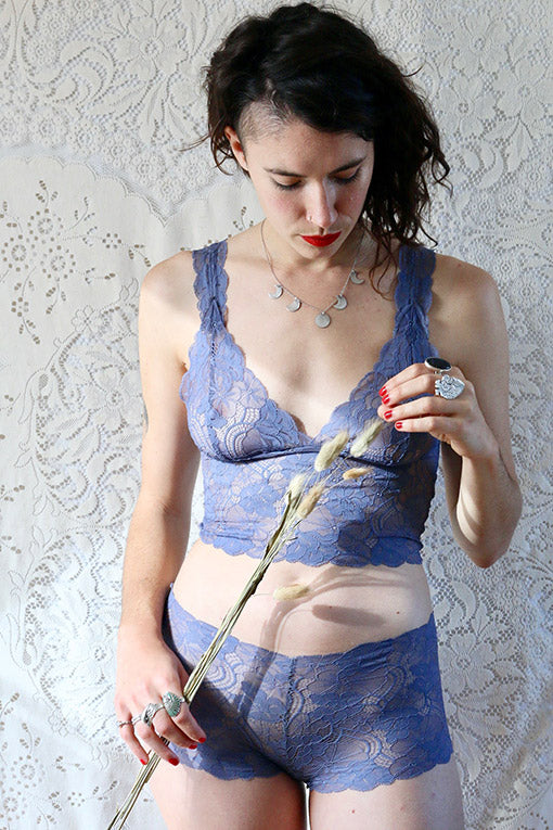 Blue lace lingerie
