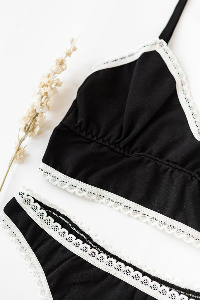 Organic Cotton Bralette and Thong Set in Black