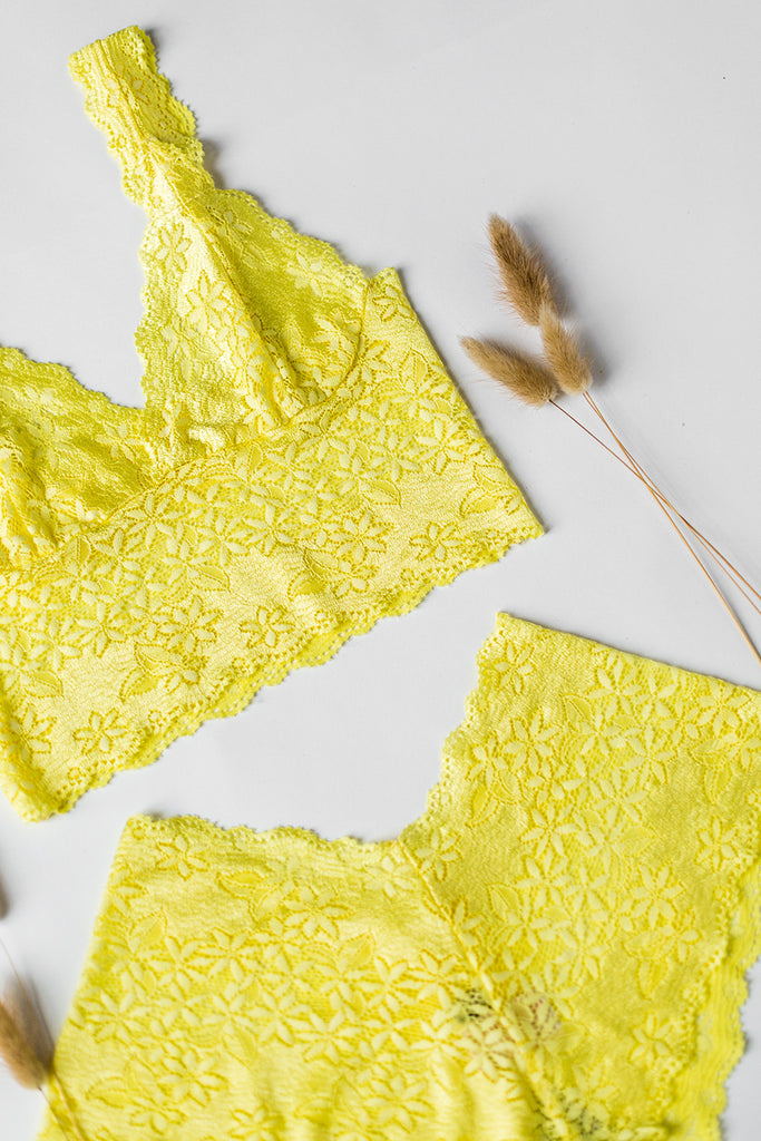 Lemon Yellow Lace Longline Bralette