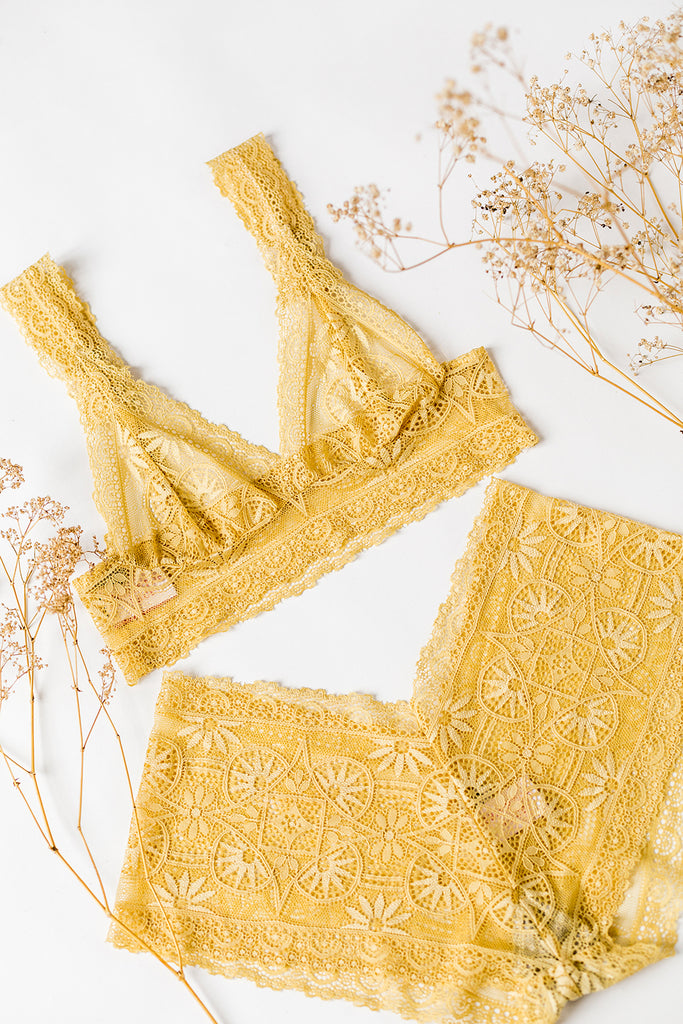 Golden Ochre Lace Tiger Lily Lingerie Set