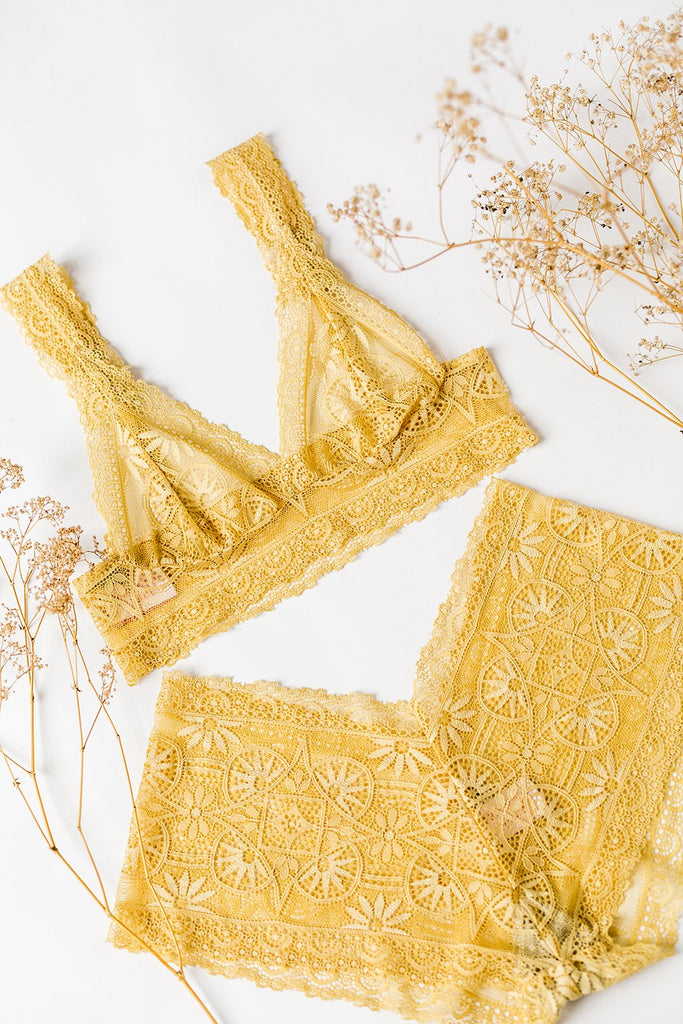 Golden Ochre Lace French Knickers