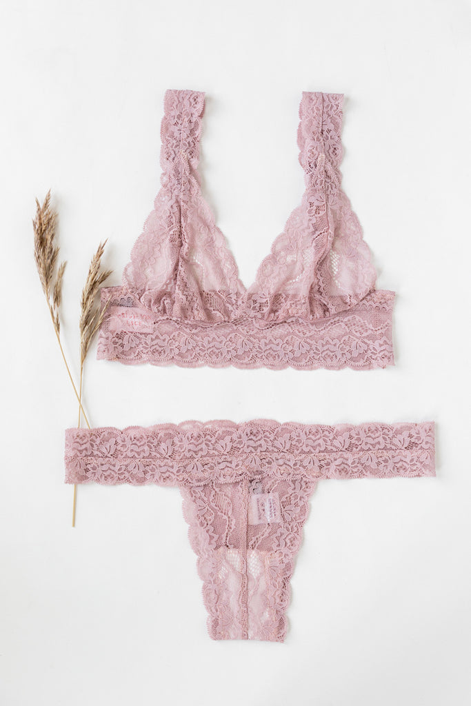 Dusty Pink Tiger Lily Lace Lingerie Set