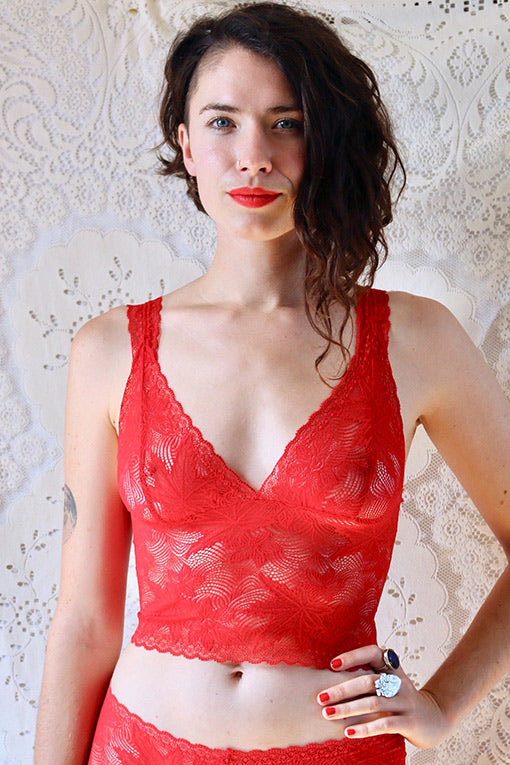 Red Sheer Lace Bralette
