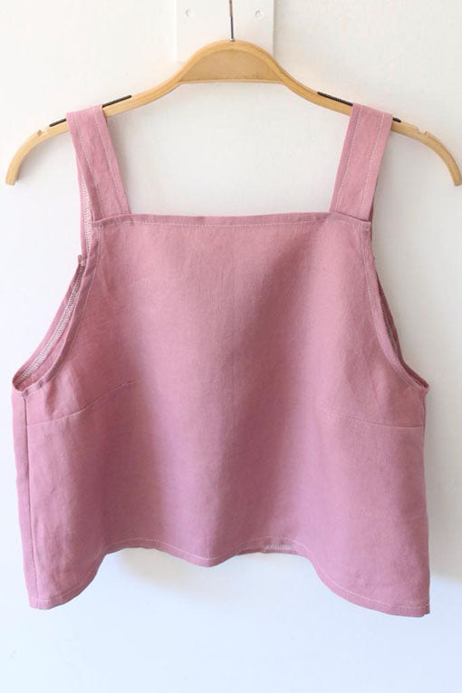 Rose Pink Emily Linen Crop Top 1