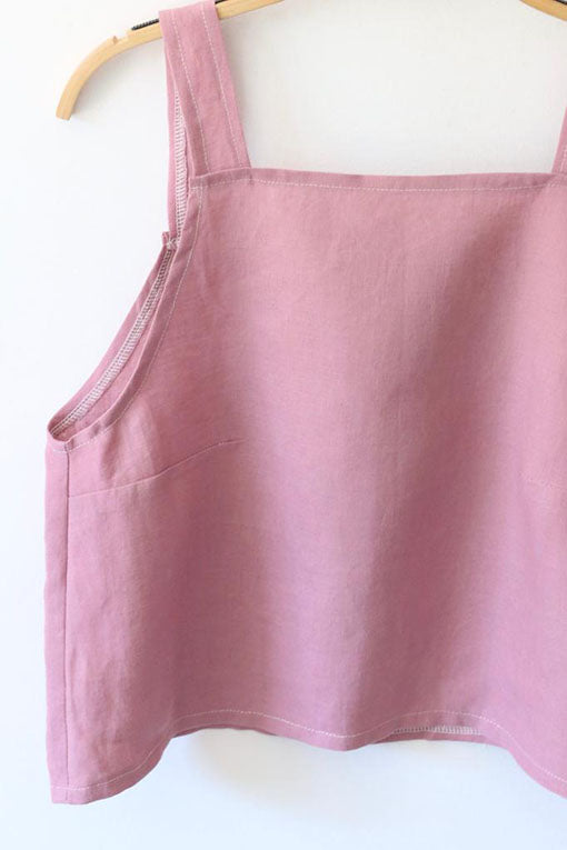 Rose Pink Emily Linen Crop Top 2