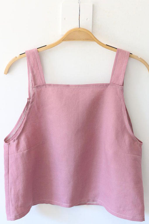 Rose Pink Emily Linen Crop Top 3