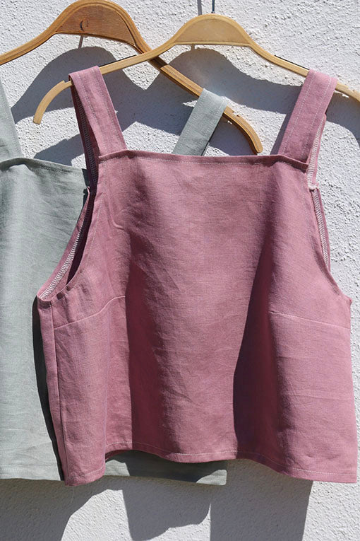 Rose Pink Emily Linen Crop Top 4