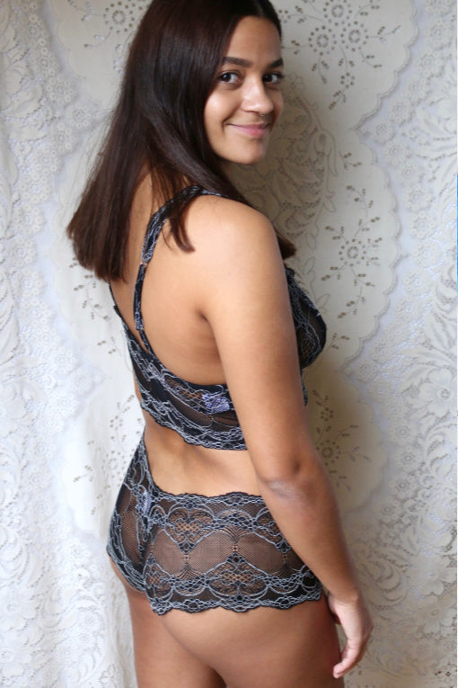 Silver and Black Lace Lingerie
