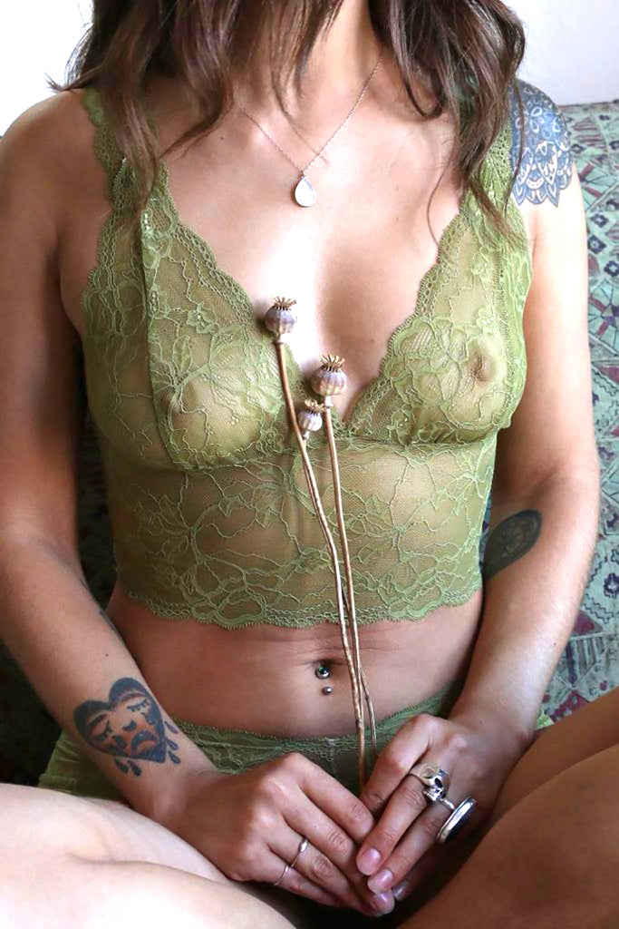 Pear Green Lace Longline Bralette