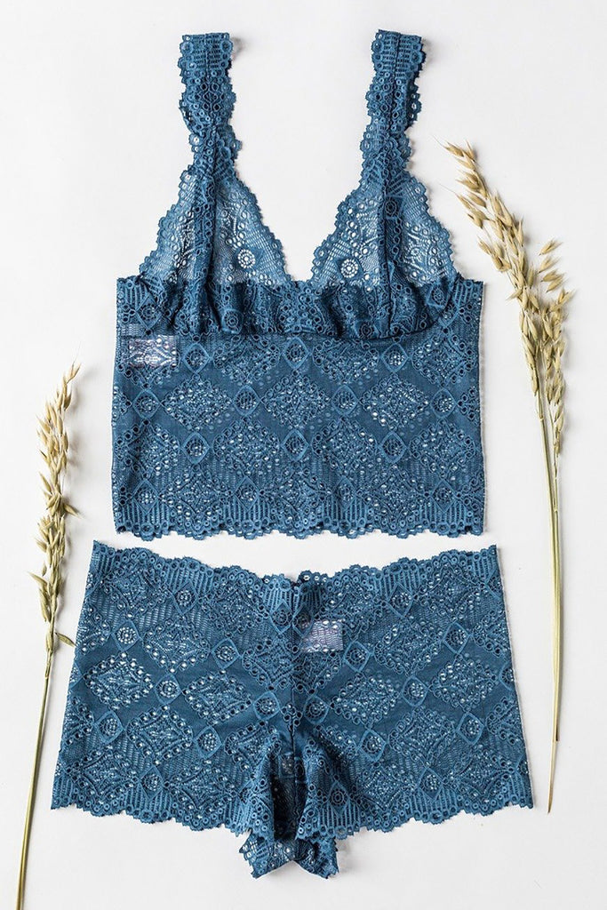 Petrol Blue Lace High Waisted Knickers
