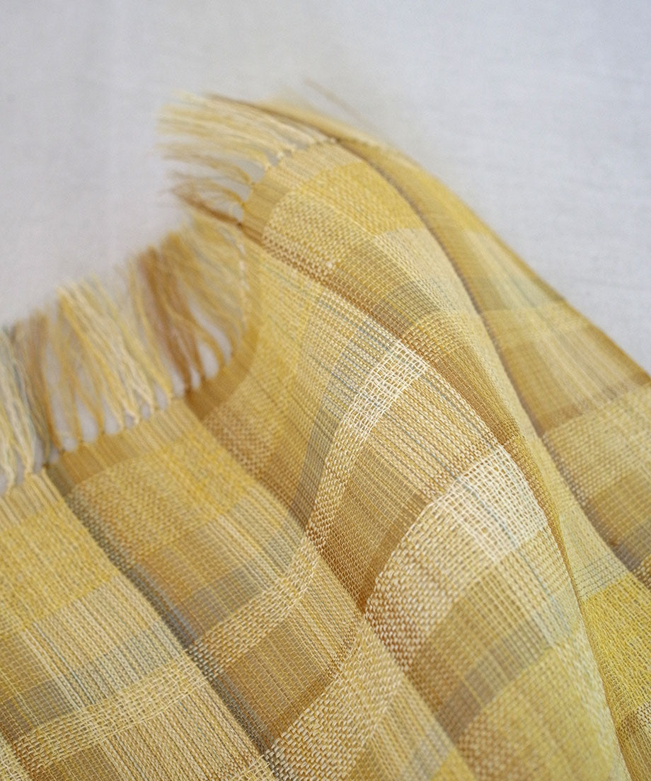 Stole | Zuridashi check double weave, yellow, 2370Y