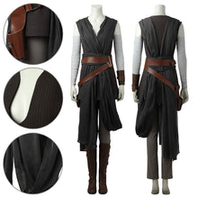Load image into Gallery viewer, Rey Star Wars 8 The Last Jedi Black Cosplay Costume