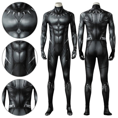 Black Panther T'Challa Marvel Black Panther 2018 Movie Jumpsuit Cosplay Costume - Free Shipping