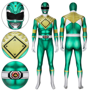 Mighty Morphin Power Rangers Green Ranger Zentai Jumpsuit Cosplay Costume - Free Shipping