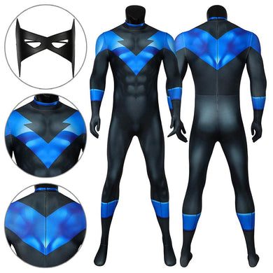 Nightwing Richard Grayson DC Batman: Under the Red Hood Jumpsuit Cosplay Costume - Free Shipping