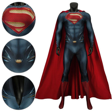 Superman Clark Kent DC Superman Man of Steel Kal-El Jumpsuit Cosplay Costume - Free Shipping