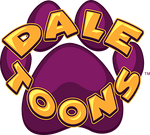 Dale Toons logo. Features a paw print in purple with Dale Toons written over it with a golden color.