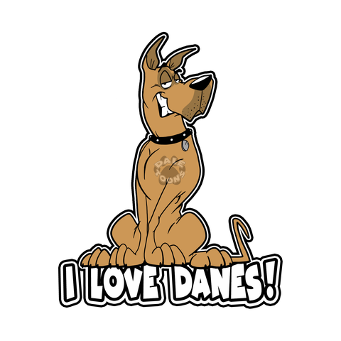 I Love Danes! vinyl decal