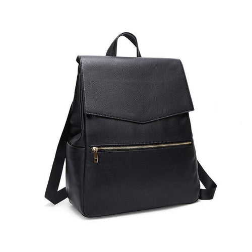 Black backpack changing bag on white background
