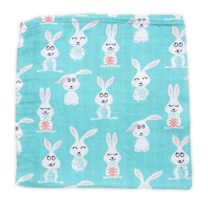 Extra Large Muslin In Blue Bunny Print