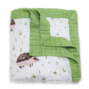 Bamboo Baby Blanket In Hedgehog Print