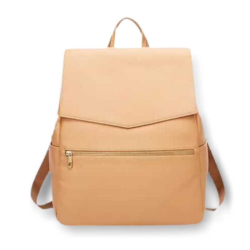 Tan backpack changing bag on white background