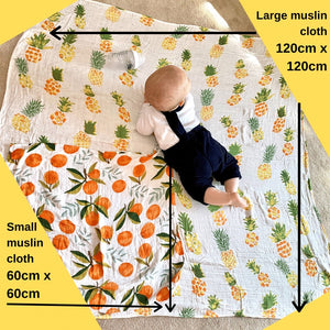 Extra Large Muslin In Cartoon Fox Print