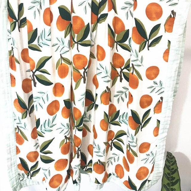 Bamboo Baby Blanket In Oranges Print