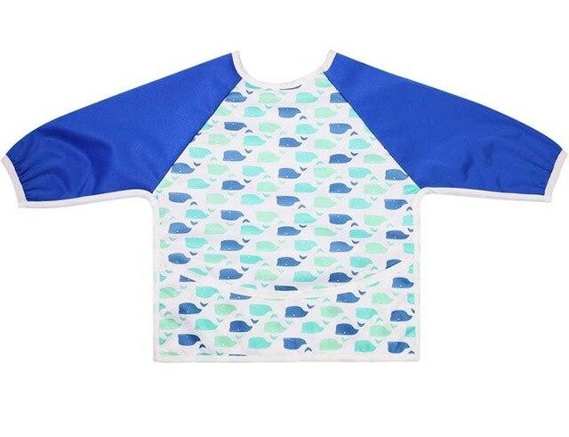 Waterproof Long Sleeve Weaning Bib - Whale