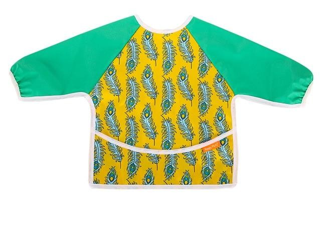 Waterproof Long Sleeve Weaning Bib - Feather