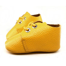 Load image into Gallery viewer, Genuine Leather Baby Shoes in Electric Yellow