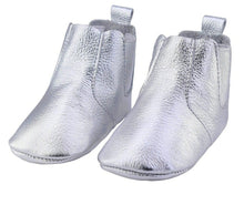 Load image into Gallery viewer, Genuine Leather Baby Booties in Silver Shine