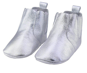 Genuine Leather Baby Booties in Silver Shine