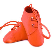 Load image into Gallery viewer, Genuine Leather Baby Shoes in Zesty Orange