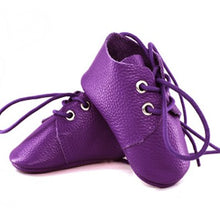 Load image into Gallery viewer, Genuine Leather Baby Shoes in Purple