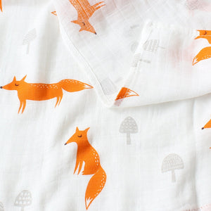 Small Muslin Square In Cartoon Fox Print