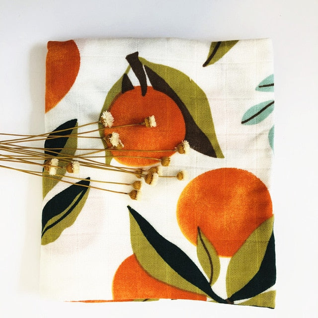 Small Muslin Square In Oranges Print