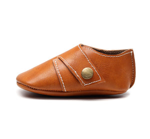 Genuine Leather Baby Shoes in Orange Tan