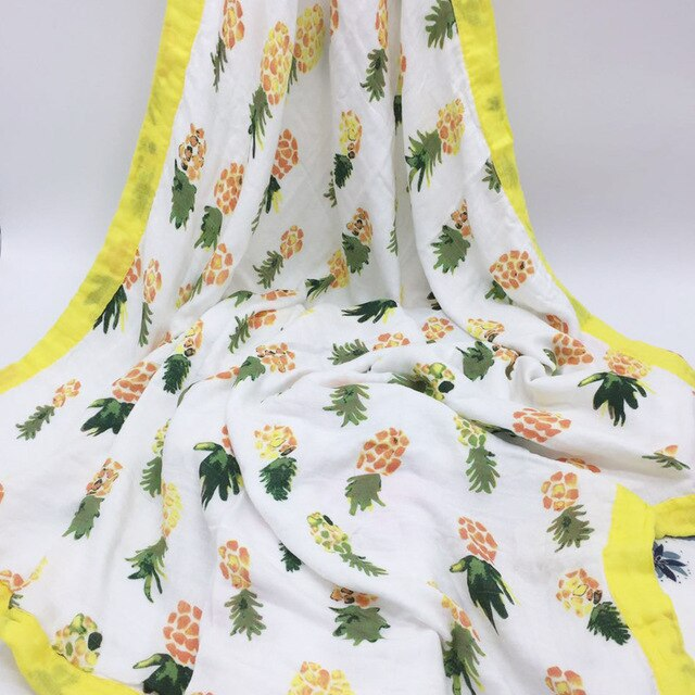 Bamboo Baby Blanket In Pineapple Print