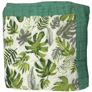 Bamboo baby blanket in tropical leaf print on white background