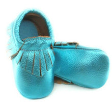 Load image into Gallery viewer, Genuine Leather Baby Moccasins in Ocean Blue