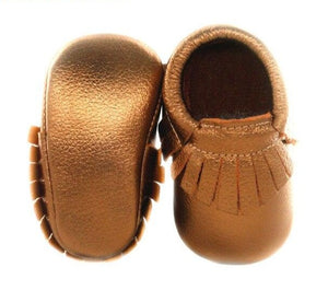 Genuine Leather Baby Moccasins in Brown Shine