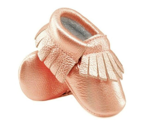 Genuine Leather Baby Moccasins in Champagne