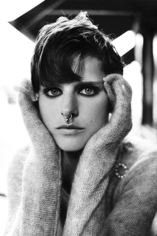 A black and white image of Stella Tennant taken from British Vogue
