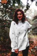 Load image into Gallery viewer, 'Star-Gazing' fine-knit jumper in white