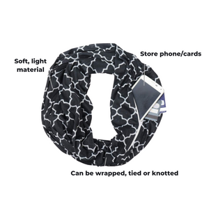 A black and white geometric patterned scarf laid out in a circle shape. There is a phone protruding from a zip in the scarf. Annotations indicate the features of the product.