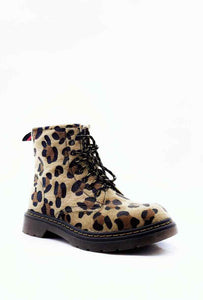 A side on image of a leopard print boot with black sole and black and camel coloured laces