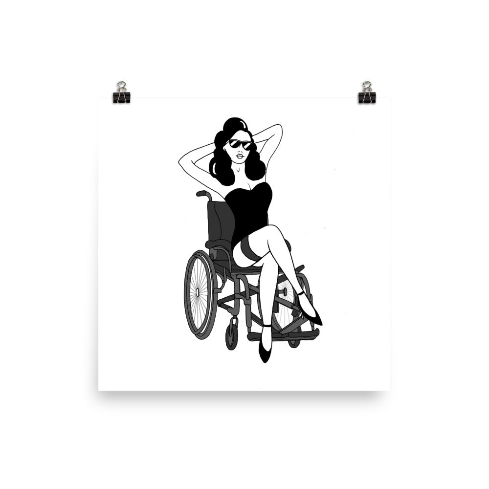 'Seated Pinup' Girl Unframed Print